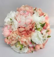 PEONIES VINTAGE BOUQUET BRIDE BROOCH PEARLS WEDDING FLOWERS PINK PEACH WHITE